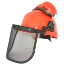 Elmetto di protezione con visiera in alluminio e cuffie antirumore